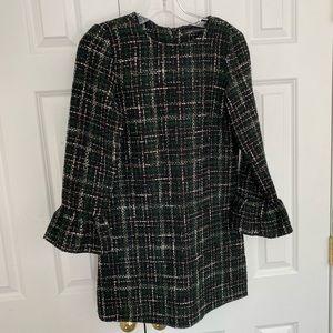 Zara Plaid Tweed Shift Dress Bell Sleeve Green Blk